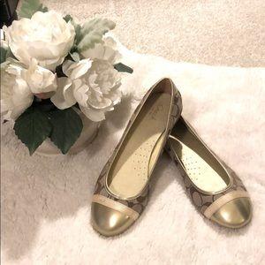 NWOT Coach signature gold ballet shoes